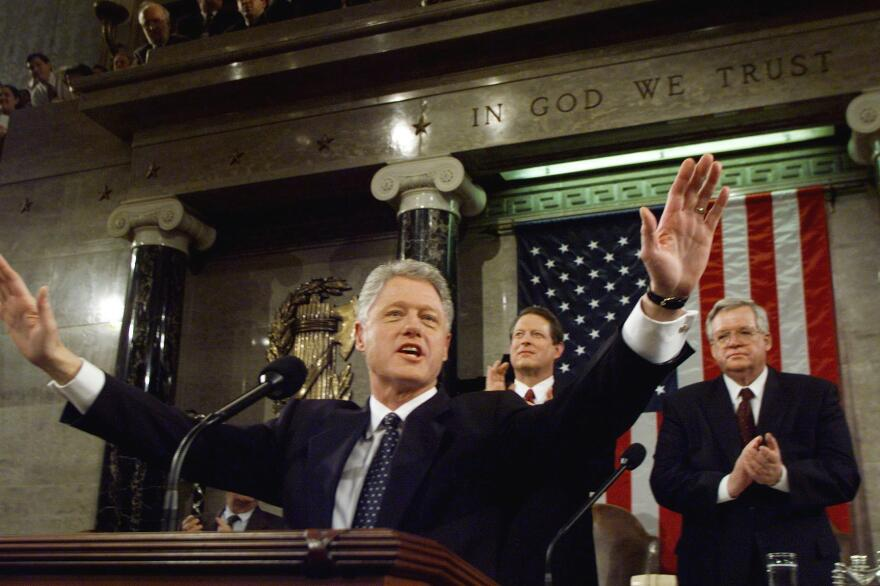 President Bill Clinton delivers the State of the Union address in January 1999 as his Senate impeachment trial was underway. Despite impeachment, Clinton was successful in working with Congress on legislation.