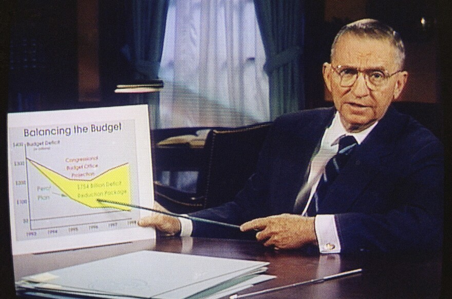 Ross Perot, shown here during a 1992 campaign commercial, made cutting the national debt a centerpiece of his presidential runs.
