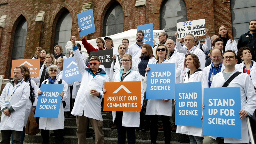Scientists rallied for evidence-based public policy outside the American Geophysical Union's fall meeting in San Francisco in December.