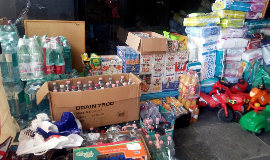 Crates of food and sleeping bags were stockpiled by volunteers at a Migration Aid office in downtown Budapest. Giving food and supplies is permitted, but offering transport or shelter to anyone entering Hungary illegally is criminalized under Hungarian law.