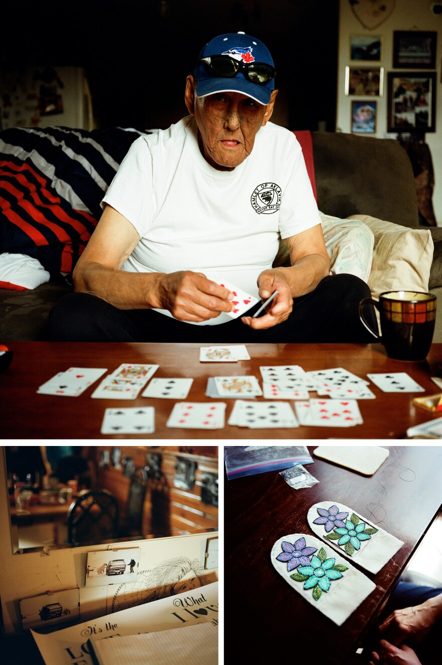 Top: Bruce's brother-in-law Walter Inglangasak plays solitaire in his home in Aklavik. Left: Photos of Bruce Inglangasak running around a truck as a polar bear chases him. Right: Cindy Arey works on slippers she is making in her home in Aklavik. Cindy's partner is Bruce's brother, Lenard Inglangasak.