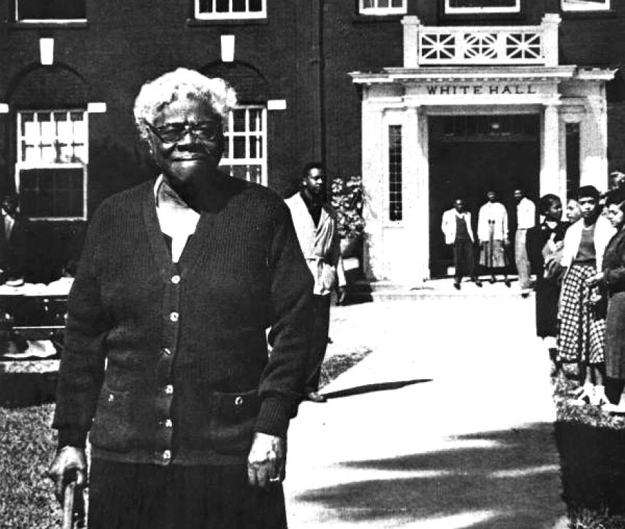 Mary McLeod Bethune in front of White Hall at Bethune-Cookman University.
