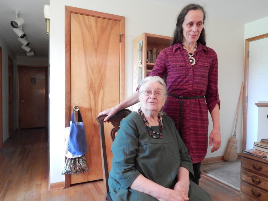 Ellen Duell (sitting down) with her daughter Reine Duell Bethany in Yellow Springs. Reine grew up in the Duell's house near Wolf Creek, within walking distance of the levees.
