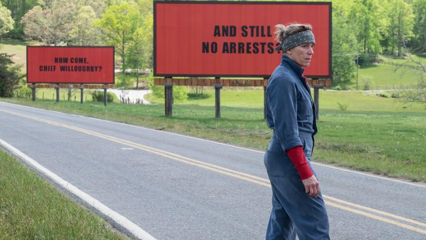 Frances McDormand plays Mildred Hayes, a mother determined to find her daughter's murderer, in <em>Three Billboards Outside Ebbing, Missouri.</em>