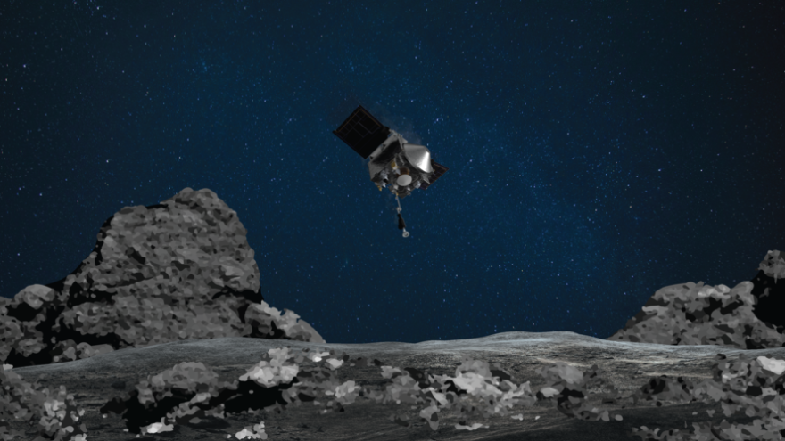 This artist's rendering shows OSIRIS-REx spacecraft descending towards asteroid Bennu to collect a sample of the asteroid's surface.