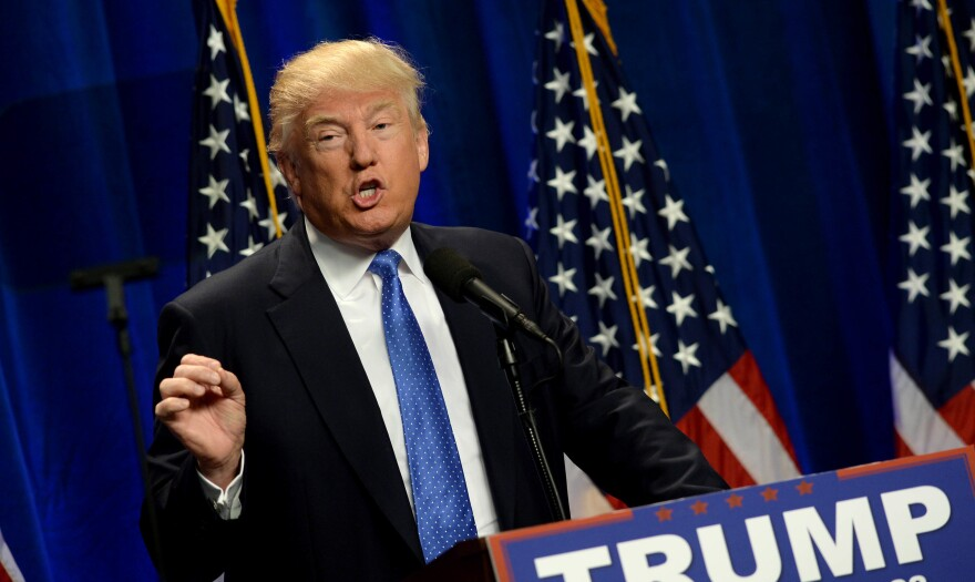 Presumptive GOP presidential nominee Donald Trump speaks at St. Anselm College in Manchester, N.H., on Monday.