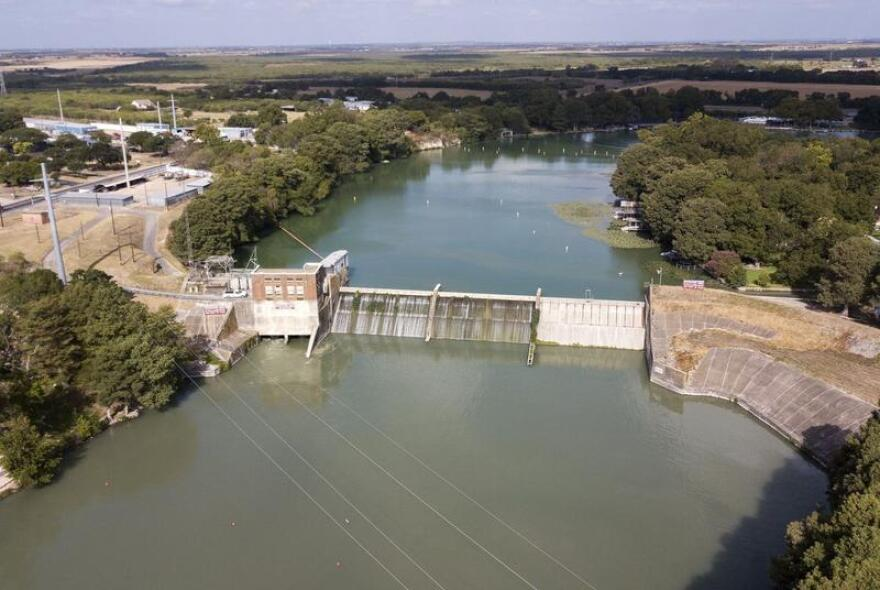 The dam at Lake McQueeny, near Seguin, is one of four remaining in the Guadalupe River Valley in Central Texas that are at risk of failure.