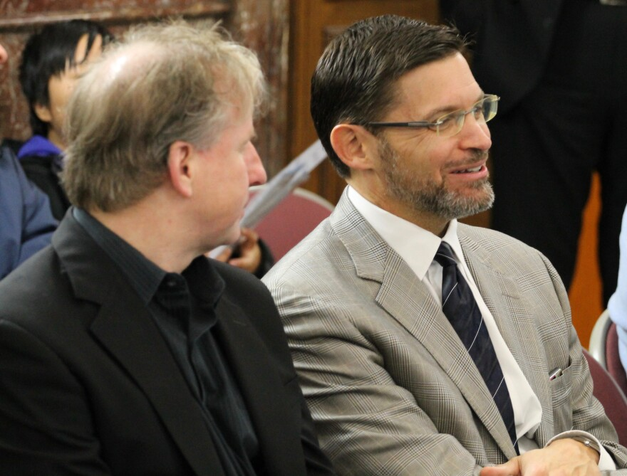 Dave Peacock, right, was on hand to watch the Ways and Means Committee hearing on Thursday.