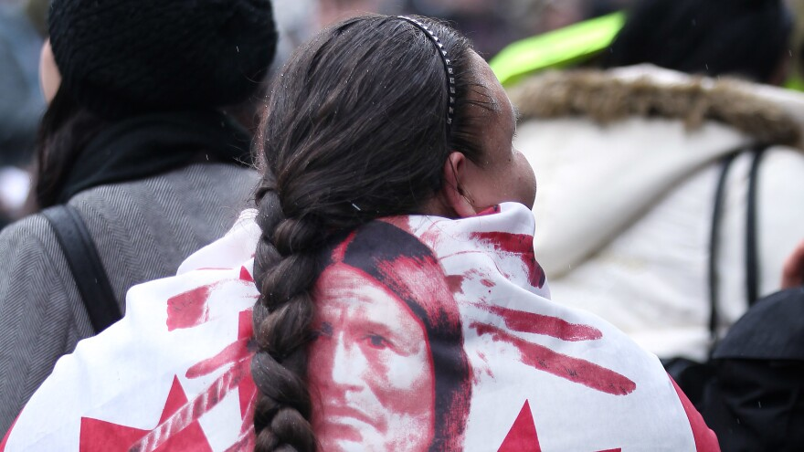 A First Nations rally participant in Toronto, Canada, December 2012.