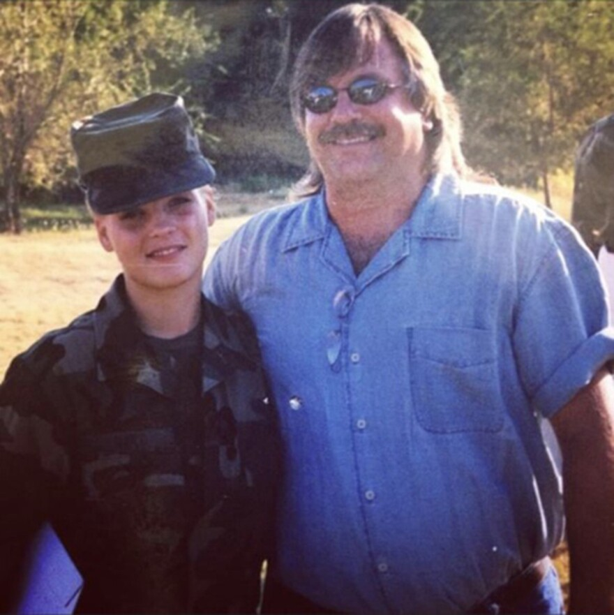 Angela Hart served eight years in the U.S. Army Reserve, including more than one year on active duty in Iraq. She is shown here with her father, Alan Hart, in Fort Sill, Okla., the day she graduated from basic training in 2000.