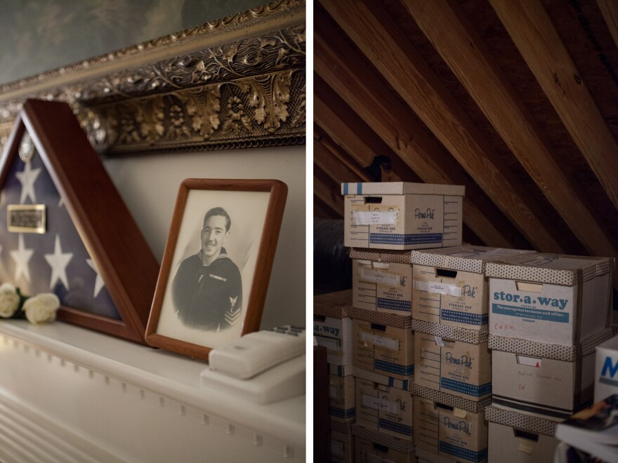Relics from Nat Schnurman's activism still decorate the family home where his wife, Joy, lives. Boxes of medical records — his and those of other veterans — fill the attic, along with handwritten notes and appeals to the VA.