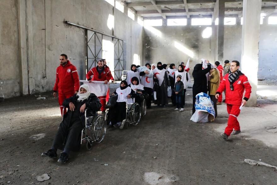 Random violence in Syria makes it a dangerous place for aid workers. This month, members of the Syrian Arab Red Crescent transported Syrians from a rebel area to a part of Aleppo controlled by the Assad regime.