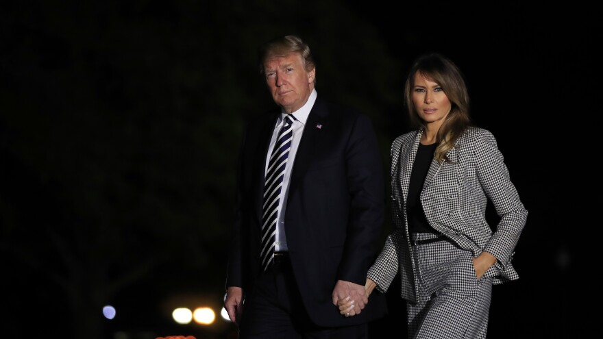 President Trump with first lady Melania Trump returns to the White House May 10, 2018, after greeting three freed Americans who had been detained in North Korea. Until Monday night, May 10 was the last time the first lady had been seen publicly.
