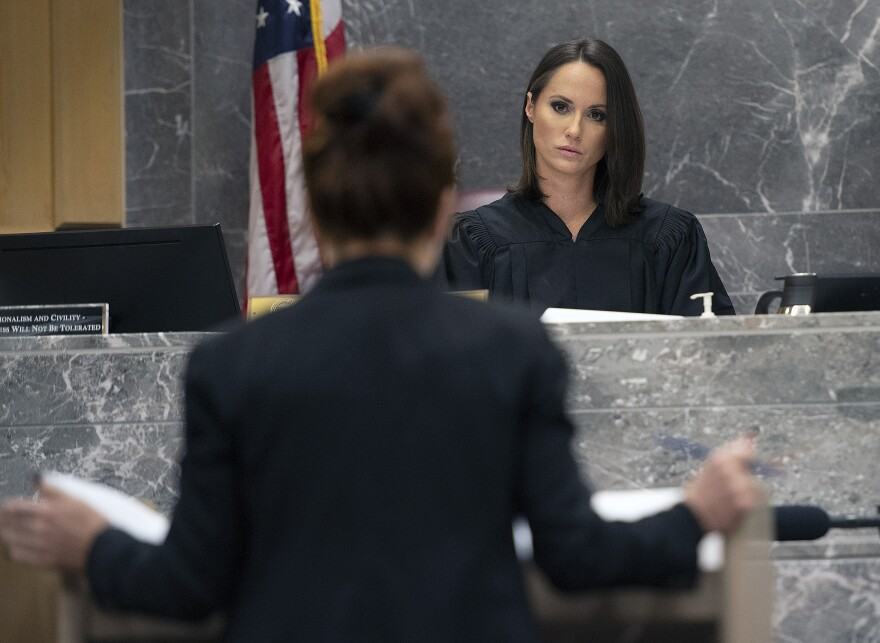 Judge Elizabeth Scherer presides over a hearing to set a date to determine when the trial in the case of Parkland school shooter Nikolas Cruz can begin at the Broward Courthouse in Fort Lauderdale, Thursday, December 19, 2019.