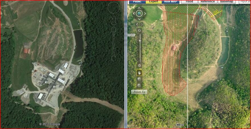 Before/After screen capture of the Mark West Plant, a major mid-stream gas processing plant that's in the middle of construction in Doddridge County.