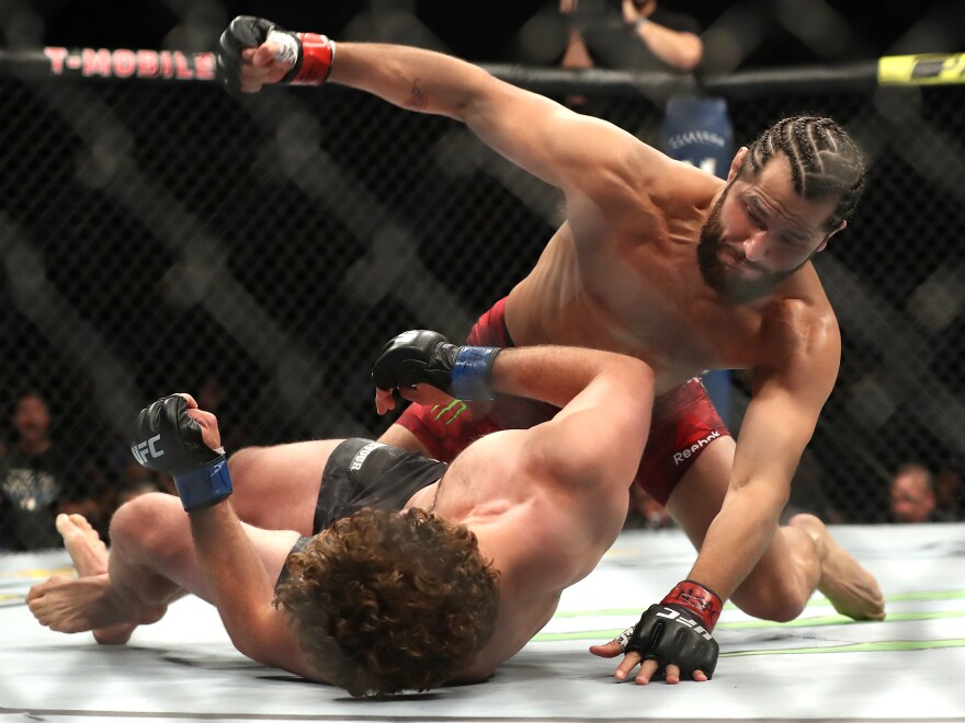 Jorge Masvidal punches Ben Askren during the UFC 239 Welterweight Bout on July 6 in Las Vegas.