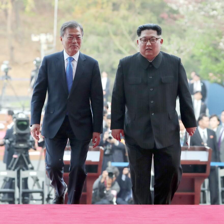 North Korean leader Kim Jong Un and South Korean President Moon Jae-in during the Inter-Korean Summit in April of last year in Panmunjom, South Korea.