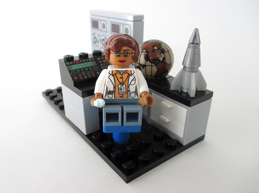 A Lego figure of mathematician and space scientist Katherine Johnson, whose story was featured in the recent film <em>Hidden Figures</em>.
