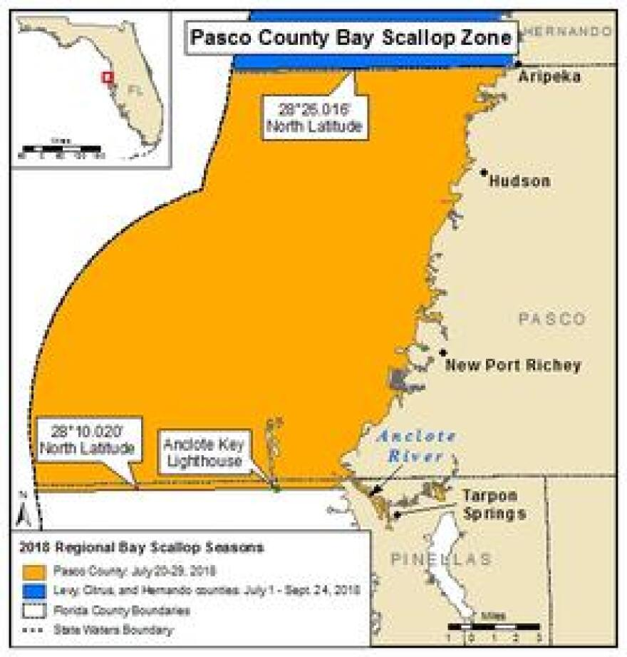 Map of the Pasco County Bay scallop zone.