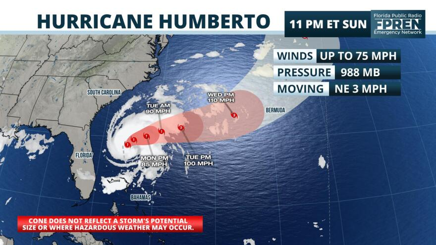 Hurricane Humberto is forecast to move away from the U.S. FLORIDA PUBLIC RADIO EMERGENCY NETWORK