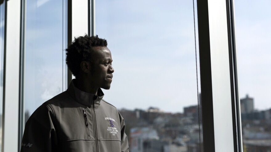 Allan Monga, a Deering High School junior, won Poetry Out Loud contests at school and at the state level. He was initially denied entry to the national competition because he's an asylum seeker and not a U.S. citizen.