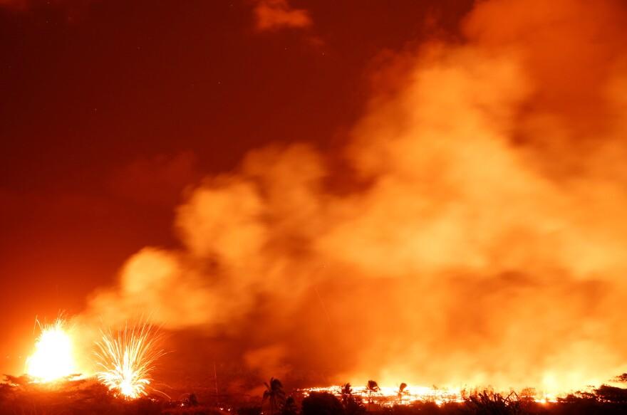 Lava shoots into the sky on the outskirts of Pahoa.