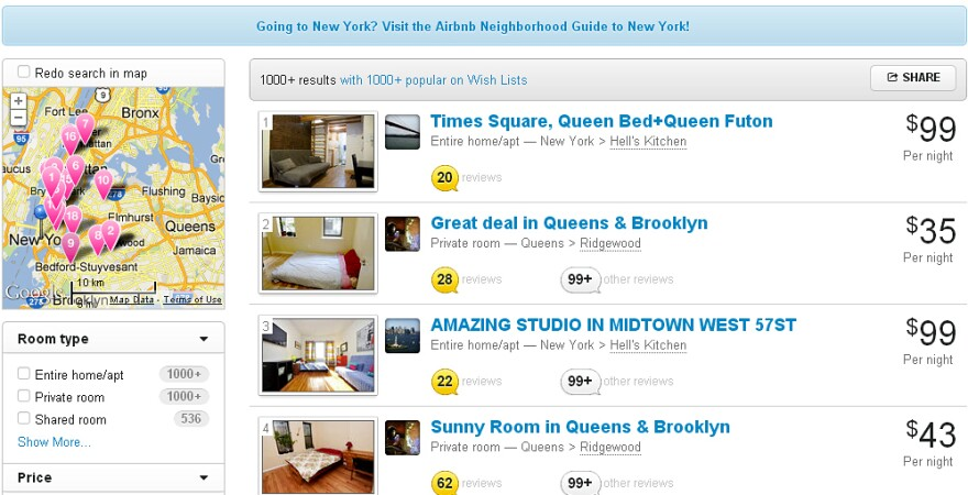 A search for places to stay in New York City via Airbnb returns plenty of results, despite the practice of short-term rentals being found to be illegal under city and state law.