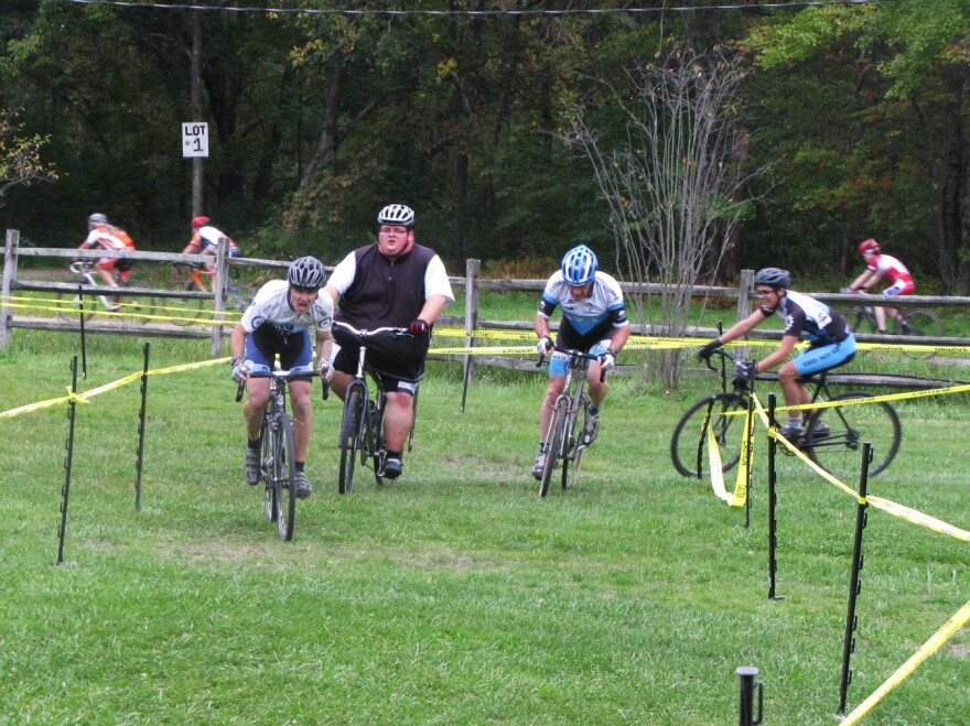 Ernest Gagnon competes in his first cyclocross race, the Midnight Ride of Cyclocross, on Sept. 26 in Lancaster, Mass.