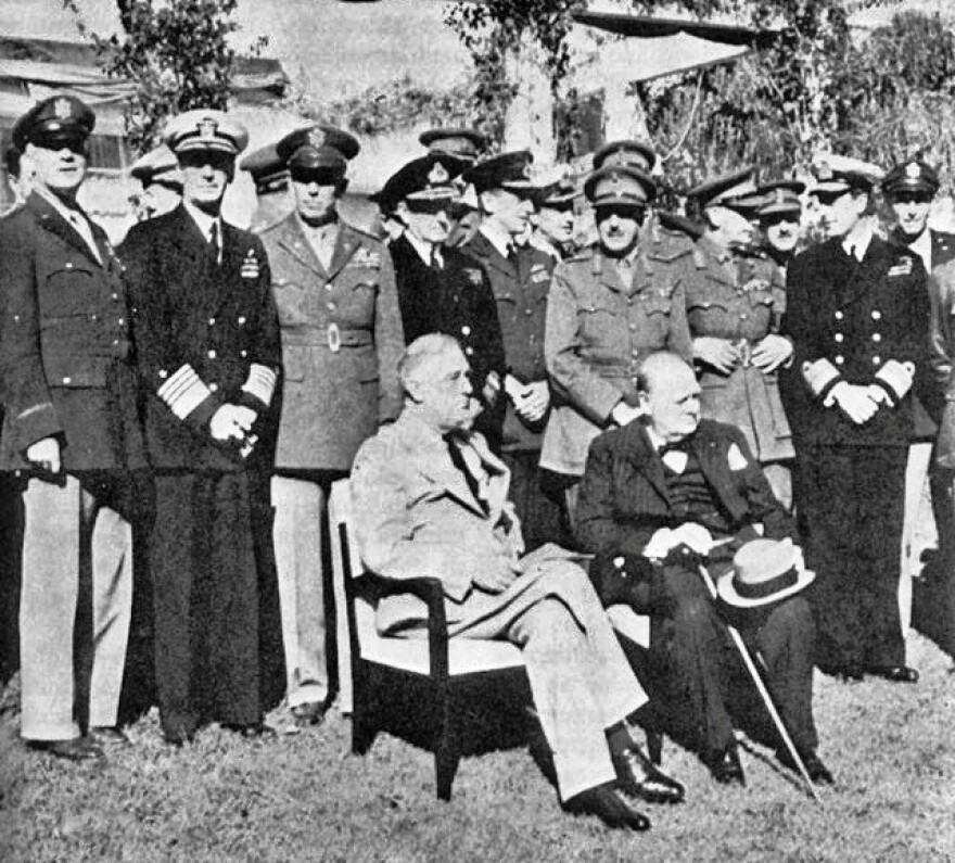 Pictured is U.S. President Franklin D. Roosevelt with U.K. Prime Minister Winston Churchill in Casablanca.