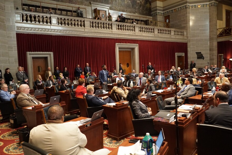Members of the Missouri House listen on May 16, 2019, as state Rep. Bruce Franks, D-St. Louis, announces his resignation.