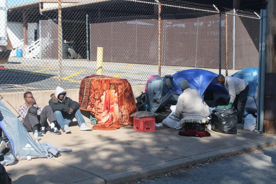 Tent encampment site in downtown St. Louis sidewalk on Oct. 26, 2017.