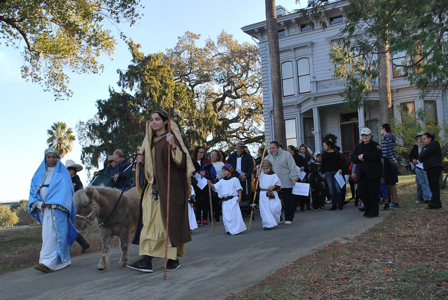 Participants in Las Posadas procession, which tells the story of Joseph and Mary as they sought shelter before the birth of Christ, walk the Anza Trail in Martinez, Calif., this Dec. 6, 2014, photo.