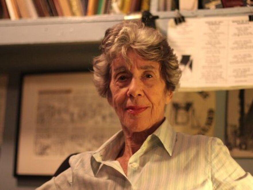 Lorraine Gordon, backstage at her club, the Village Vanguard in New York City. Gordon died on Sunday at age 95.