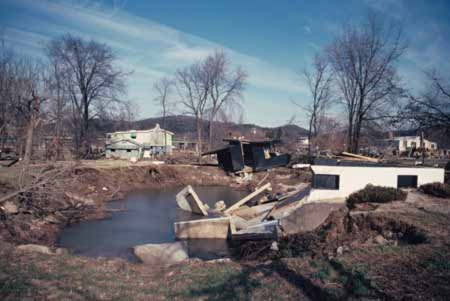 Damage in Times Beach, Missouri after the Meramec River flood in 1982. Photograph donated by Jim Stebbings to the State Historical Society of Missouri.