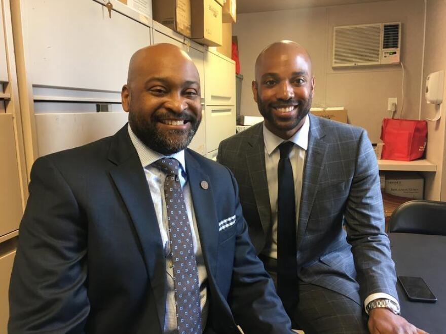 Florida state senator Oscar Braynon (left) spent years sponsoring bills that would allow clean-needle exchanges in Florida. This year, one of those bills finally became law, with the help of Dr. Hansel Tookes (right), an HIV specialist in Miami.