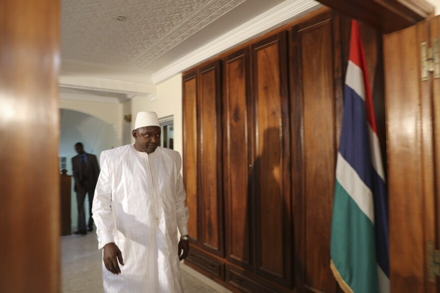 Adama Barrow before he was sworn in as President of Gambia Thursday at Gambia's embassy in Dakar, Senegal, Thursday.