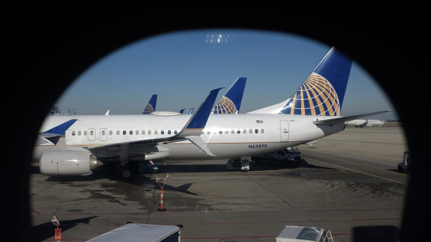United Airlines planes parked at a terminal at O'Hare International Airport in Chicago.