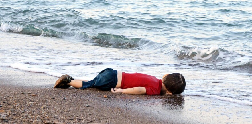 Alan Kurdi's body lies on the shores of Bodrum, southern Turkey, in September 2015 after a boat carrying 23 migrants sank while reaching the Greek island of Kos.
