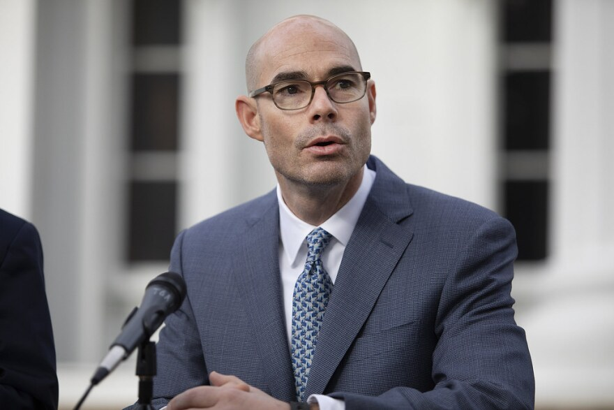 Speak of the House Dennis Bonnen on the grounds of the Governor's mansion for a joint press conference with the governor and lieutenant governor on Jan. 8, 2019.