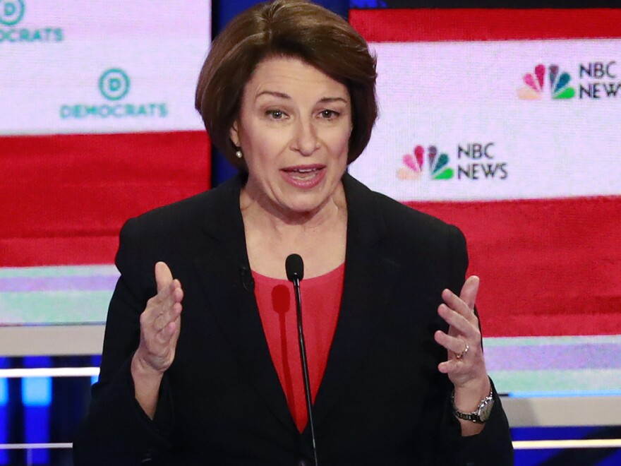 Democratic presidential candidate Sen. Amy Klobuchar, D-Minn., answers a question during a Democratic primary debate hosted by NBC News.