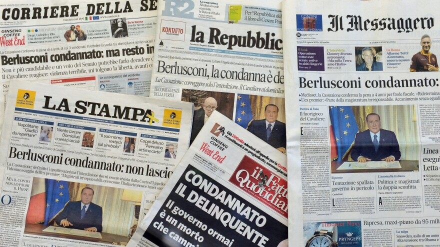The front pages of the main Italian newspapers in Rome on Friday after Italy's top court upheld a jail sentence against former Prime Minister Silvio Berlusconi for tax fraud.