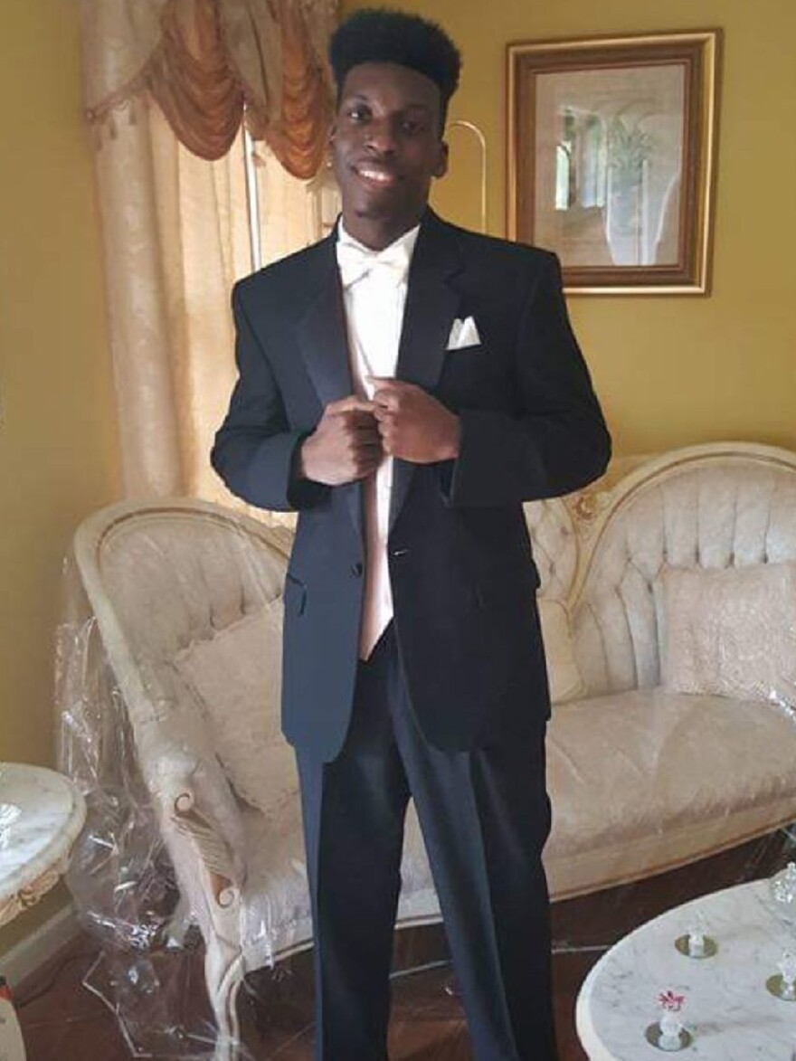 This undated image shows Emantic Bradford Jr., 21, posing for a picture at his father's home near Birmingham, Ala.