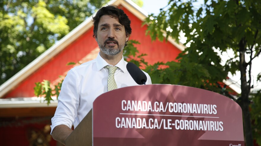 Canadian Prime Minister Justin Trudeau addresses a news conference last month in Chelsea, Quebec.