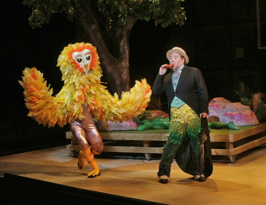 David Gonsier as an owl and Levi Hernandez as Papageno in Opera Theatre of Saint Louis 2014 production of The Magic Flute.