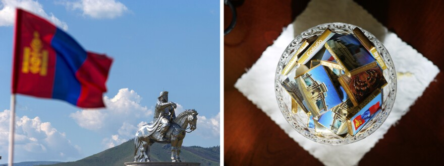 (Left) A Mongolian national flag flies near a Genghis Khan statue – the world's largest equestrian statue – in Tsonjin Boldog, Mongolia, on July 16. (Right) Chocolates are displayed for visitors to Mongolia's Government Palace in Ulaanbaatar.