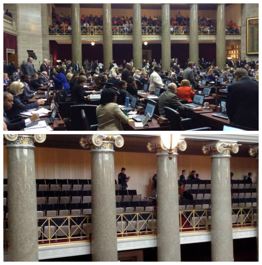 The visitors gallery in the House chamber emptied out quickly after the vote on right to work.