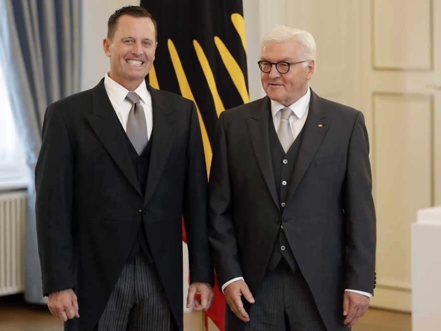 U.S. Ambassador to Germany Richard Grenell (left) and German President Frank-Walter Steinmeier greet the media during Grenell's accreditation process at the Bellevue Palace in Berlin in May.