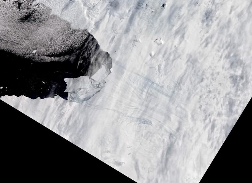 Pine Island Glacier in Antarctica spawns new iceberg on February 11, 2020. (Courtesy of NASA)