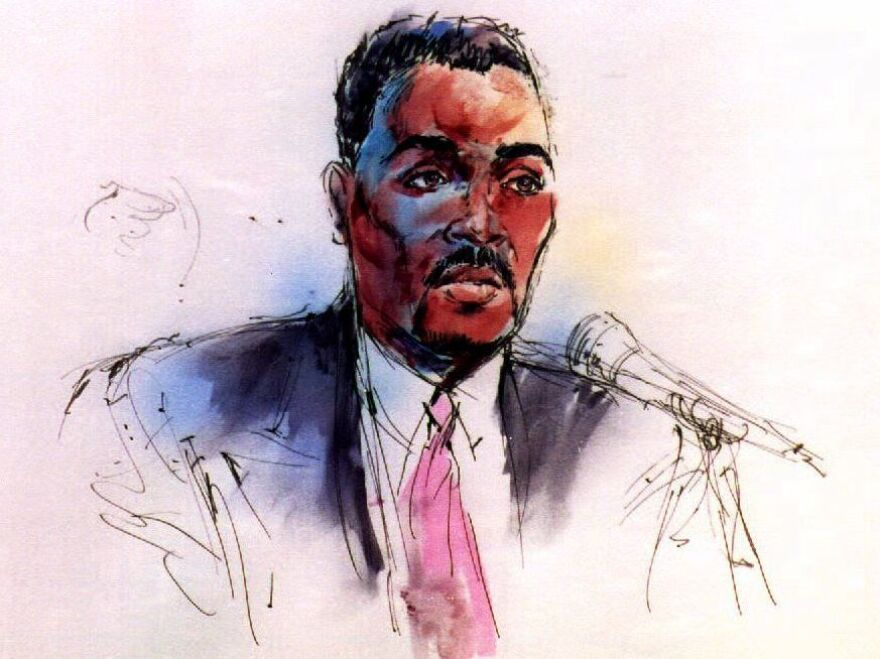 The courtroom artist's drawing of Rodney King as he testifies in the federal trial against four police officers accused of violating his civil rights in 1991.