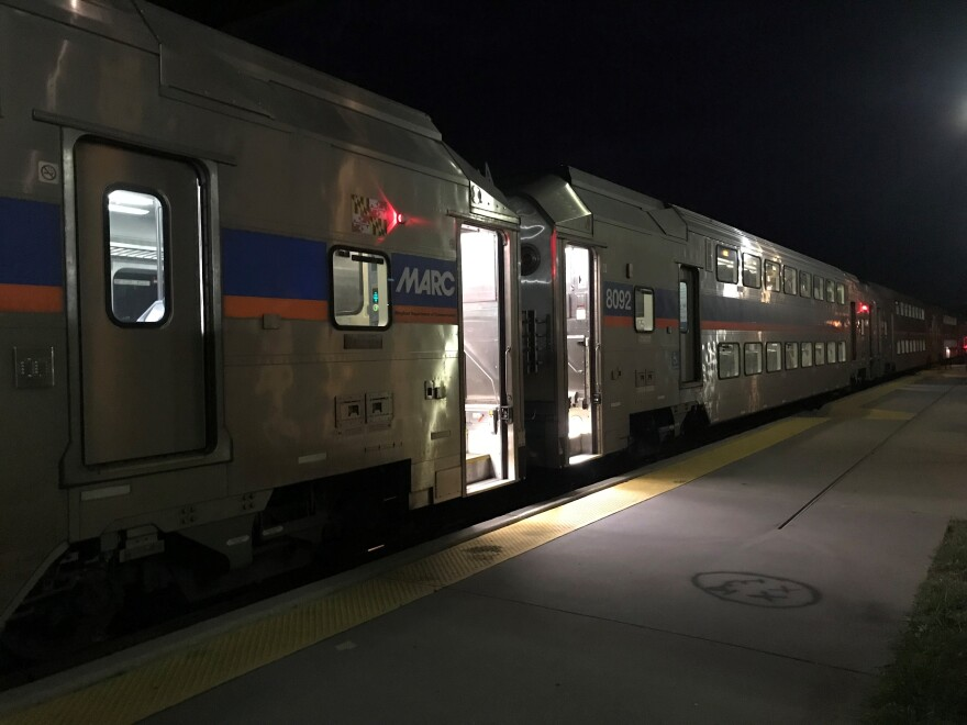 The MARC train parked at the Martinsburg train station. The service currently offers six trains, Monday through Friday, in West Virginia, but that could be reduced to two trains if West Virginia does not pay Maryland $2.3 million by the end of November.